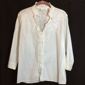 Tantrums White Petite Embroidered Blouse